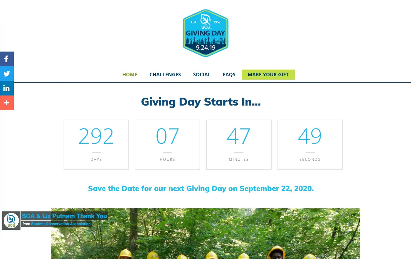 Capital Campaign Web Page: countdown timer example - Student Conservation Association