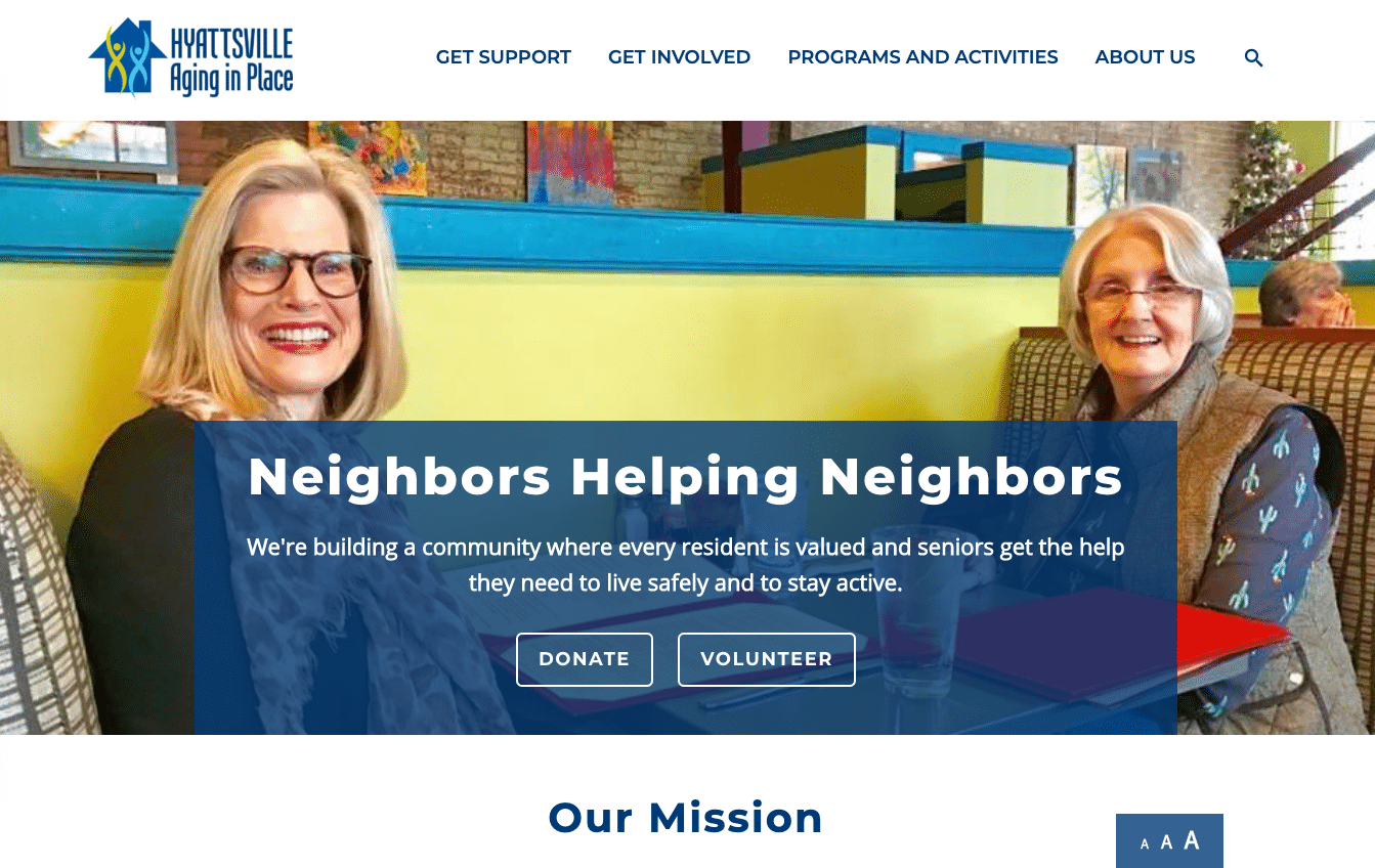 Capital Campaign Web Page: overall example - Hyattsville Aging in Place