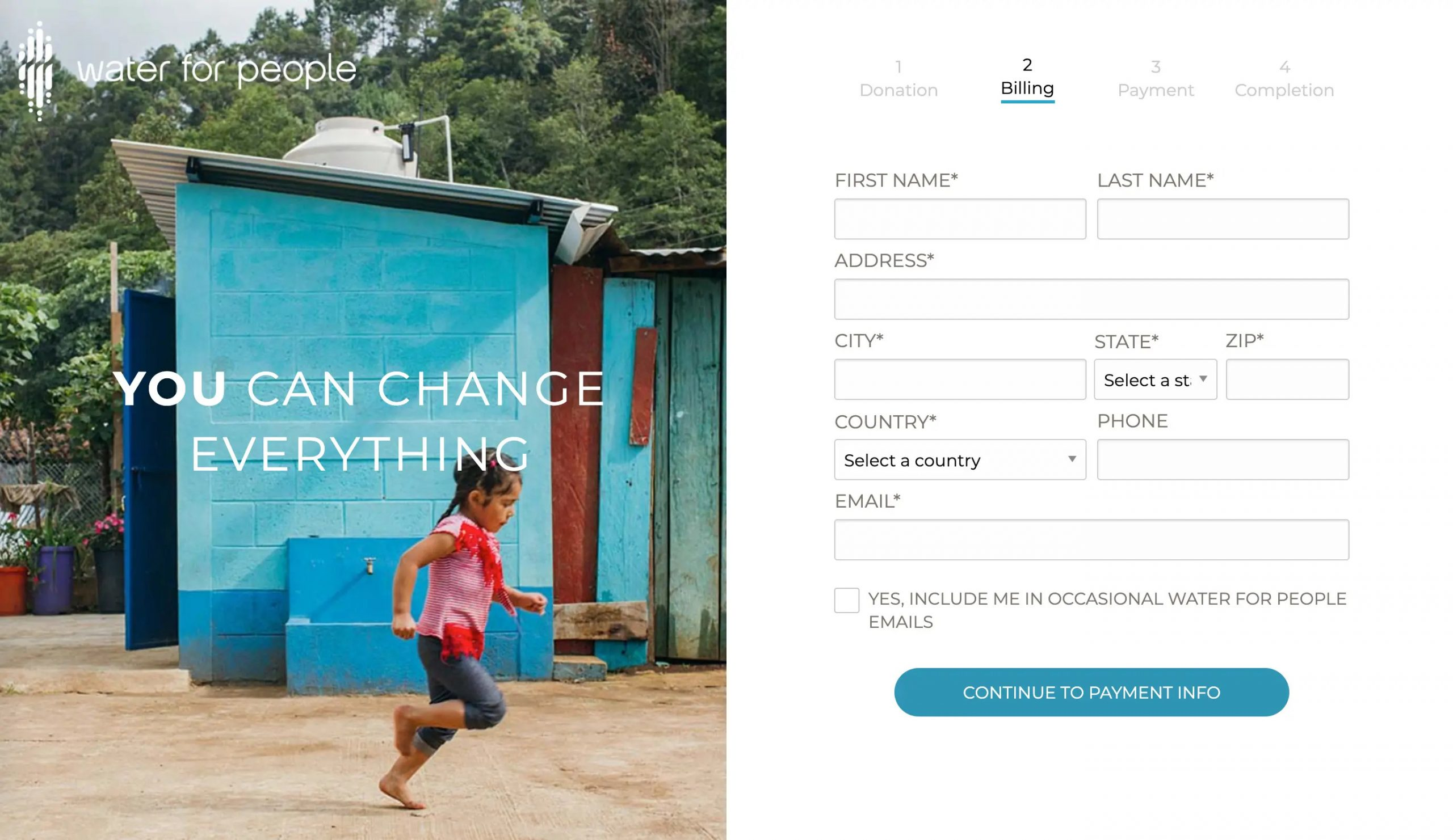 Capital Campaign Web Page: donation form example - Water for People